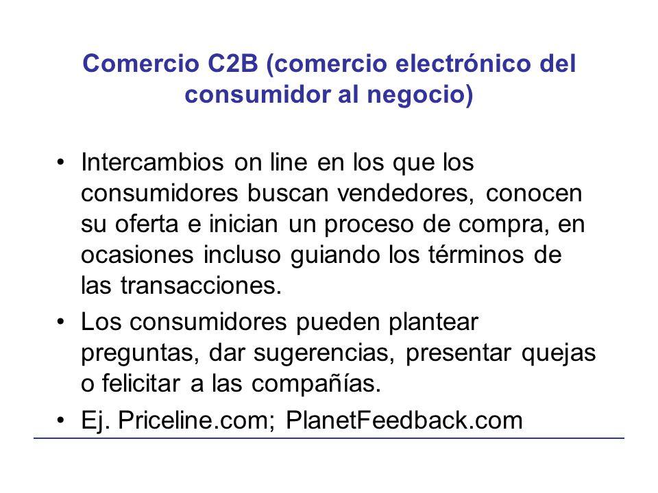 Comercio C2B (comercio electrónico del consumidor al negocio) Intercambios on line en los que los consumidores buscan vendedores, conocen su oferta e