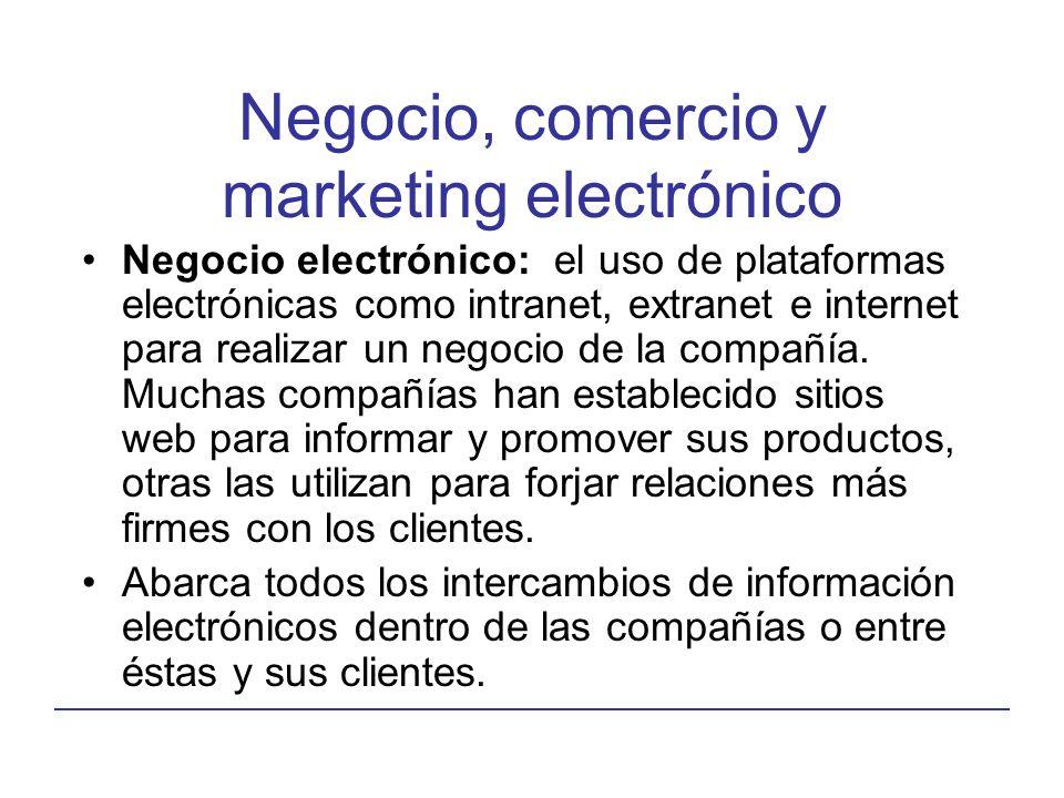 Negocio, comercio y marketing electrónico Negocio electrónico: el uso de plataformas electrónicas como intranet, extranet e internet para realizar un