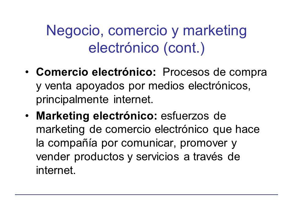 Negocio, comercio y marketing electrónico (cont.) Comercio electrónico: Procesos de compra y venta apoyados por medios electrónicos, principalmente in