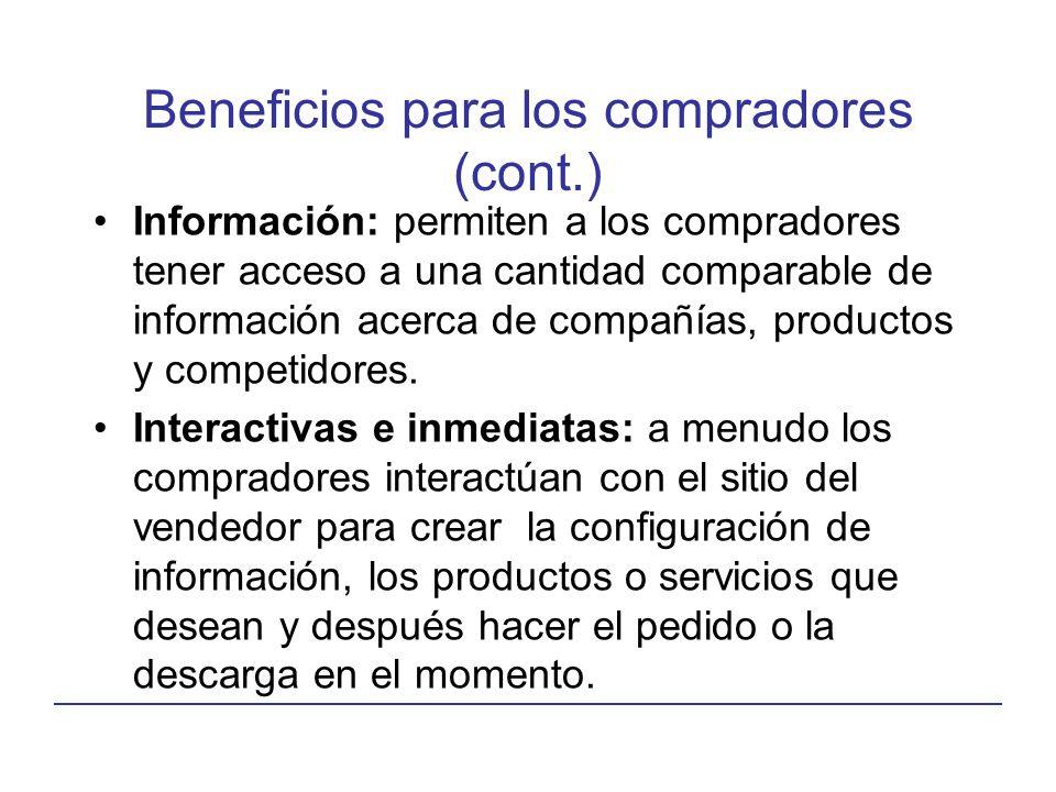 Beneficios para los compradores (cont.) Información: permiten a los compradores tener acceso a una cantidad comparable de información acerca de compañ