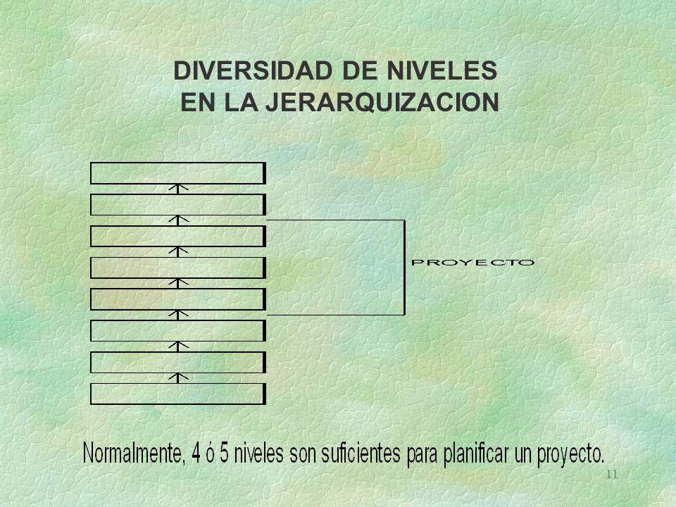 11 DIVERSIDAD DE NIVELES EN LA JERARQUIZACION