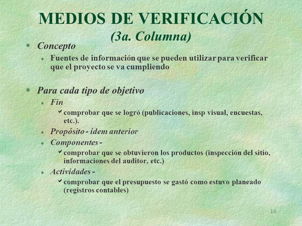 16 MEDIOS DE VERIFICACIÓN (3a.