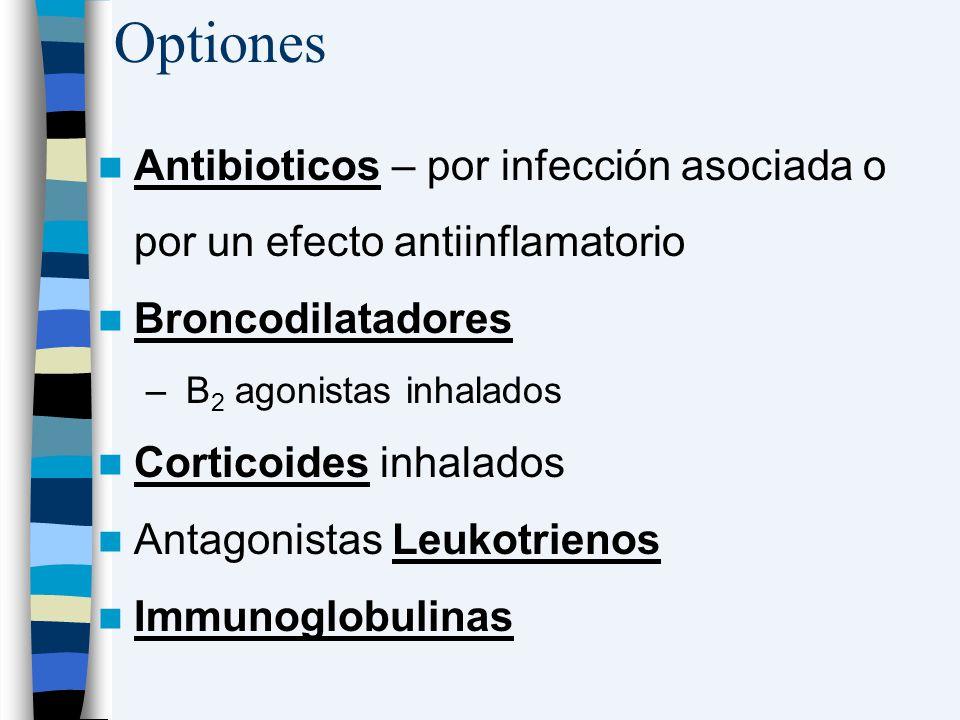 Optiones Antibioticos – por infección asociada o por un efecto antiinflamatorio Broncodilatadores – B 2 agonistas inhalados Corticoides inhalados Anta