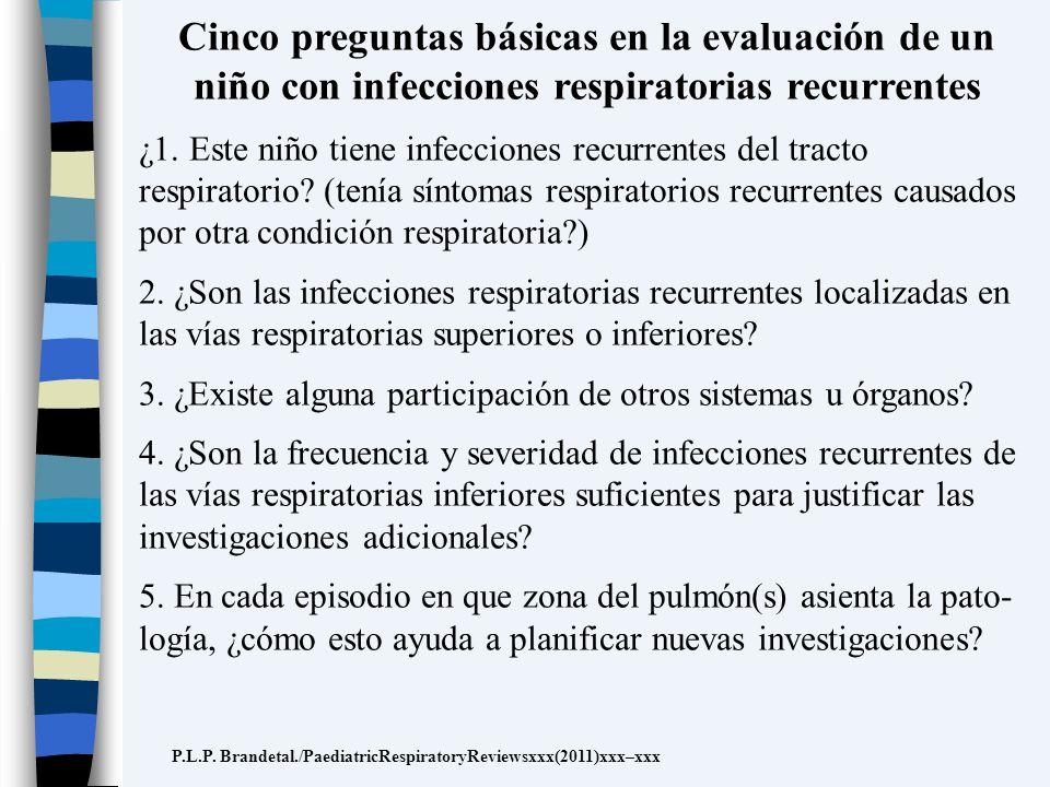 Cinco preguntas básicas en la evaluación de un niño con infecciones respiratorias recurrentes ¿1. Este niño tiene infecciones recurrentes del tracto r