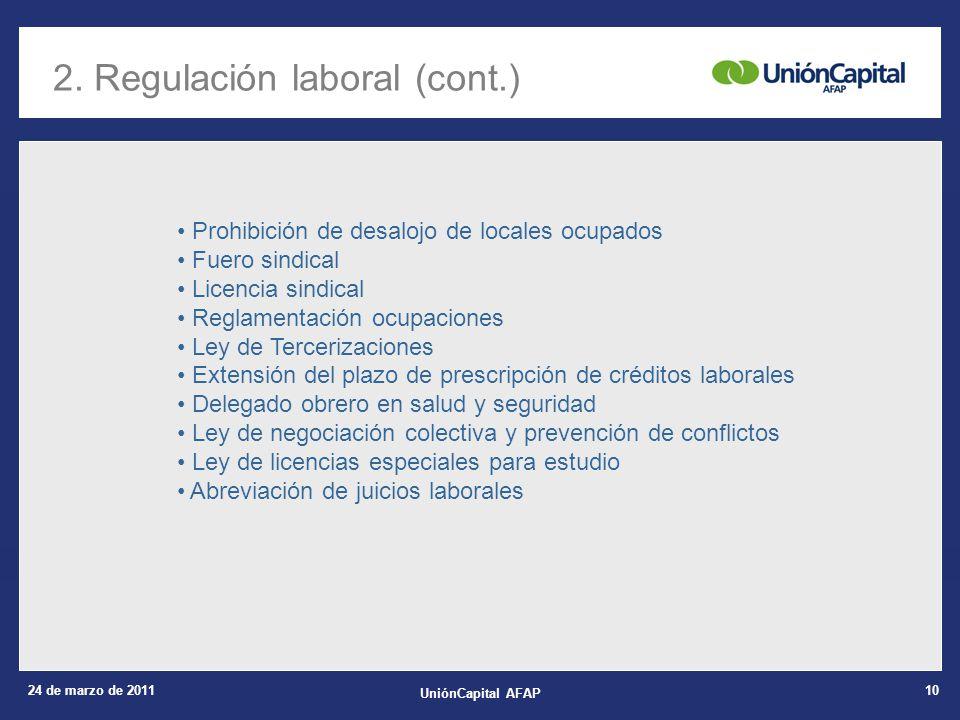 24 de marzo de 2011 UniónCapital AFAP 10 2. Regulación laboral (cont.) Prohibición de desalojo de locales ocupados Fuero sindical Licencia sindical Re