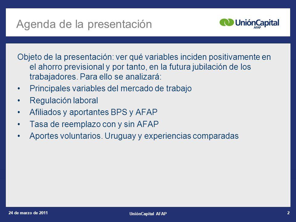 24 de marzo de 2011 UniónCapital AFAP 3 1.Principales variables del mercado de trabajo 2.Regulación laboral 3.Afiliados y aportantes BPS y AFAP 4.Tasa de reemplazo con y sin AFAP 5.Aportes voluntarios.