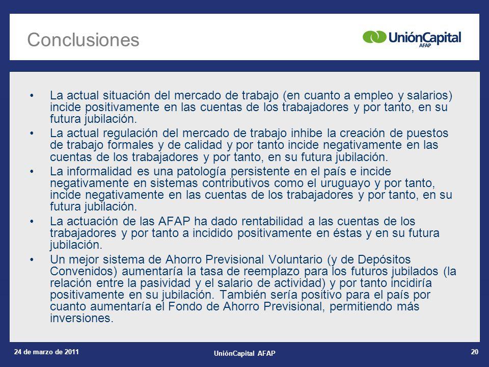 24 de marzo de 2011 UniónCapital AFAP 20 Conclusiones La actual situación del mercado de trabajo (en cuanto a empleo y salarios) incide positivamente