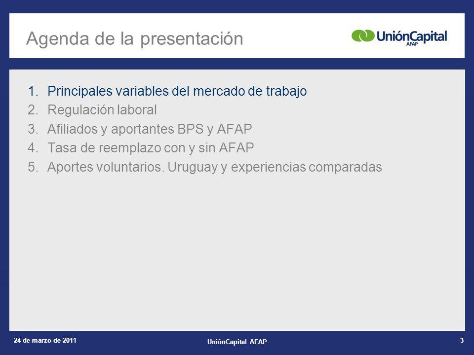 24 de marzo de 2011 UniónCapital AFAP 14 1.Principales variables del mercado de trabajo 2.Regulación laboral 3.Afiliados y aportantes BPS y AFAP 4.Tasa de reemplazo con y sin AFAP 5.Aportes voluntarios.