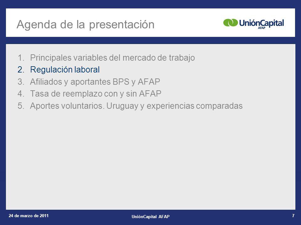 24 de marzo de 2011 UniónCapital AFAP 7 1.Principales variables del mercado de trabajo 2.Regulación laboral 3.Afiliados y aportantes BPS y AFAP 4.Tasa