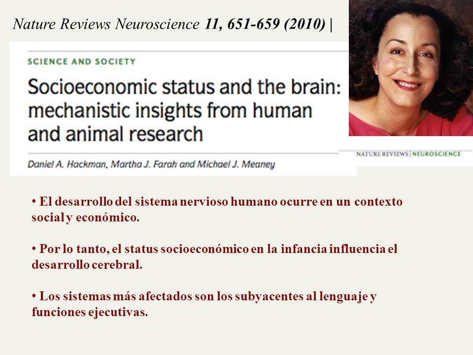 Nature Reviews Neuroscience 11, 651-659 (2010)   El desarrollo del sistema nervioso humano ocurre en un contexto social y económico. Por lo tanto, el