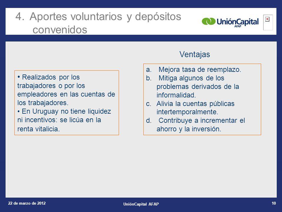 22 de marzo de 2012 UniónCapital AFAP 10 4.Aportes voluntarios y depósitos convenidos a.