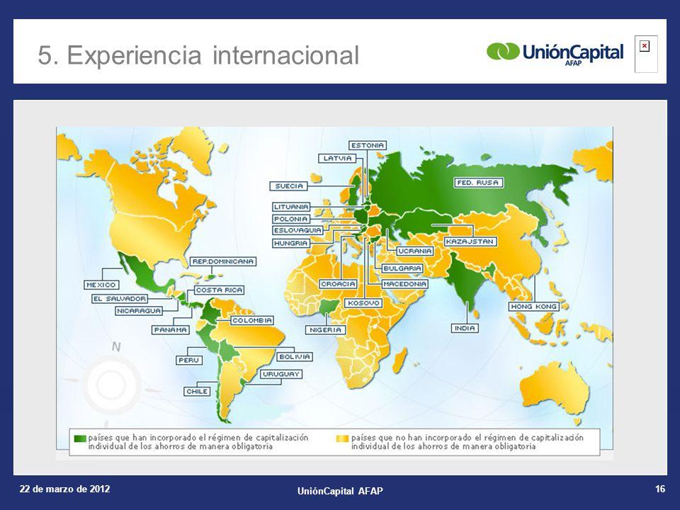 22 de marzo de 2012 UniónCapital AFAP 16 5. Experiencia internacional