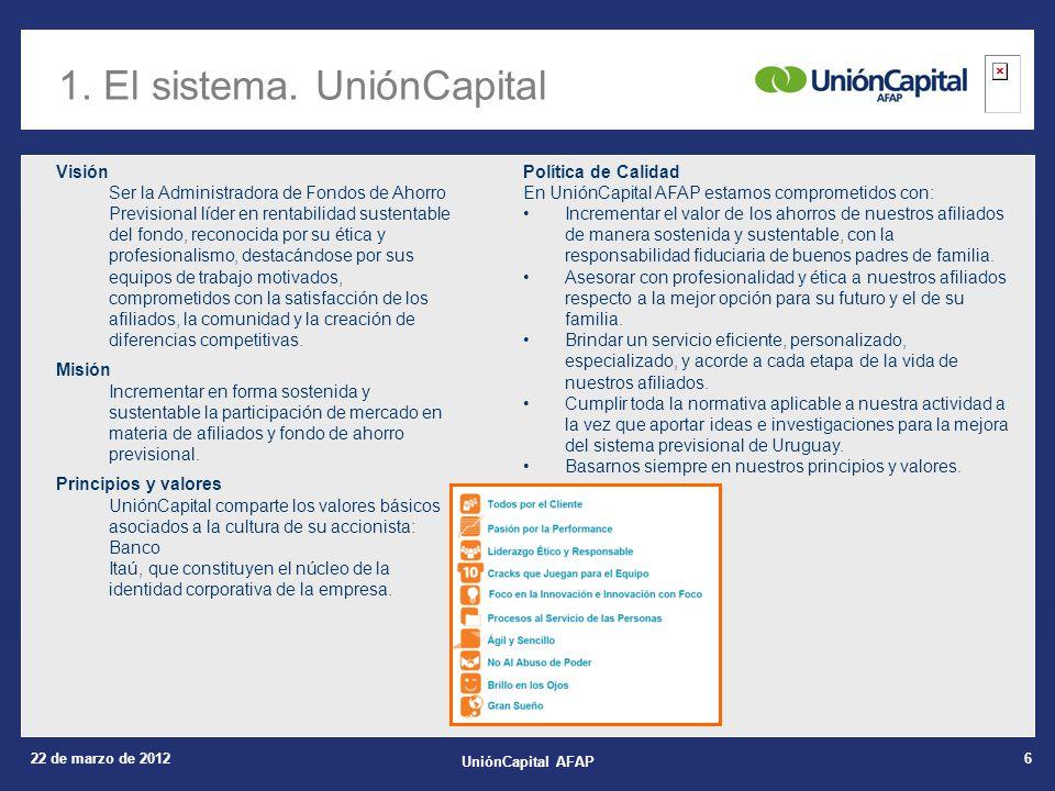 22 de marzo de 2012 UniónCapital AFAP 6 1. El sistema.