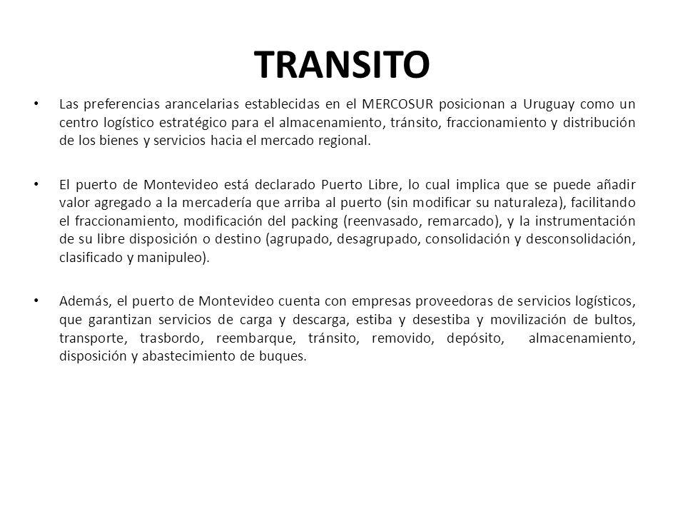 TRANSITO Las preferencias arancelarias establecidas en el MERCOSUR posicionan a Uruguay como un centro logístico estratégico para el almacenamiento, t