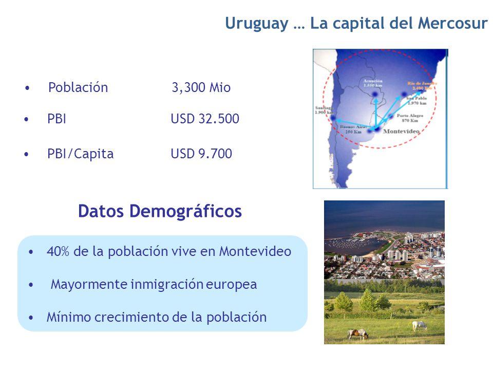 Población 3,300 Mio PBI/Capita USD 9.700 PBIUSD 32.500 Datos Demográficos Uruguay … La capital del Mercosur 40% de la población vive en Montevideo May