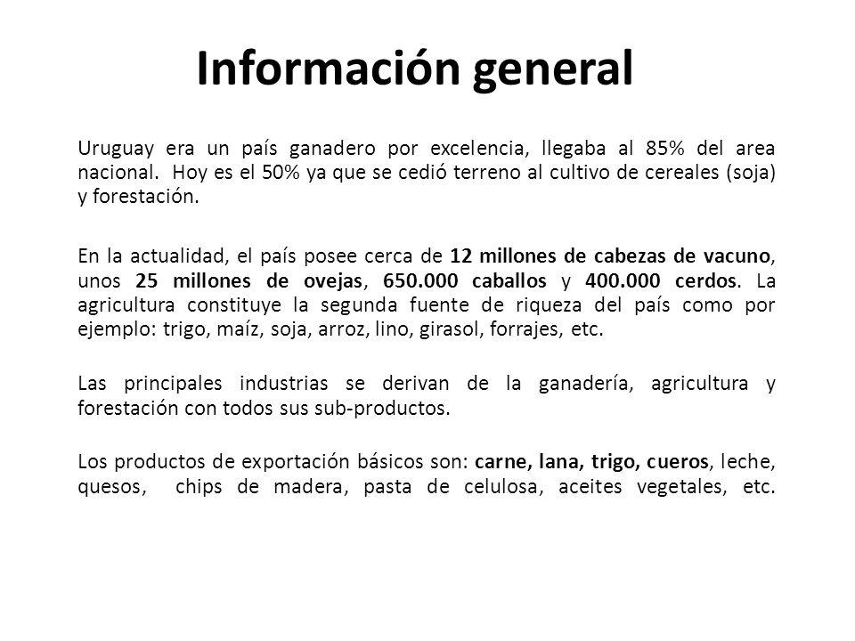 Información general Uruguay era un país ganadero por excelencia, llegaba al 85% del area nacional. Hoy es el 50% ya que se cedió terreno al cultivo de