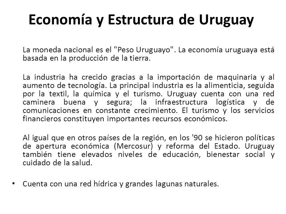 Economía y Estructura de Uruguay La moneda nacional es el