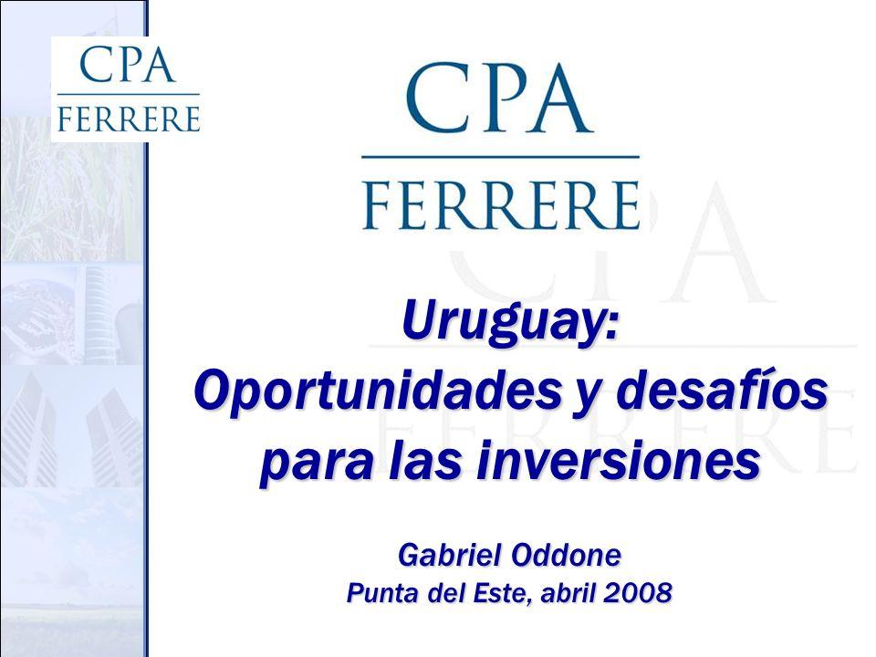 Ciclos en la región Relación de largo plazo histórica: ln PIBuru = c + 0,43 ln PIBarg + 0,43 ln PIBbra Ciclo del PIB (% la tendencia de LP) -25% -20% -15% -10% -5% 0% 5% 10% 15% 20% Mar-85Mar-87Mar-89 Mar-91Mar-93 Mar-95Mar-97Mar-99Mar-01Mar-03 Mar-05 Mar-07 URUARGBRA Sigue siendo cierto..?