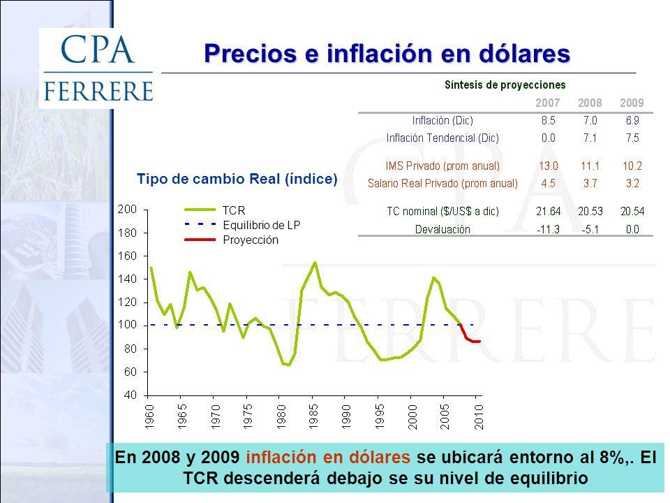 Precios e inflación en dólares En 2008 y 2009 inflación en dólares se ubicará entorno al 8%,.