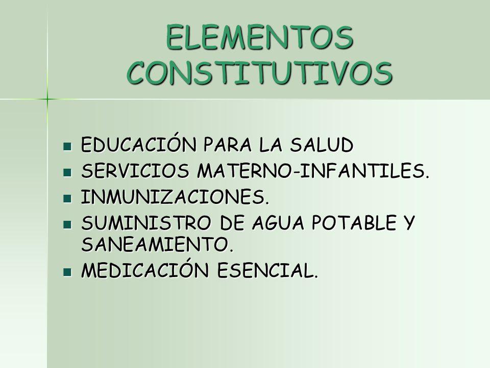 ELEMENTOS CONSTITUTIVOS EDUCACIÓN PARA LA SALUD EDUCACIÓN PARA LA SALUD SERVICIOS MATERNO-INFANTILES.