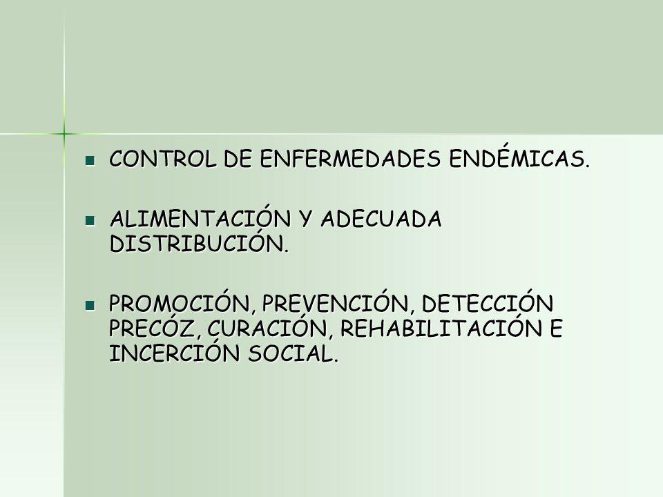 CONTROL DE ENFERMEDADES ENDÉMICAS. CONTROL DE ENFERMEDADES ENDÉMICAS.