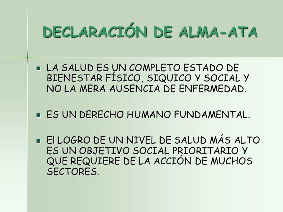 DECLARACIÓN DE ALMA-ATA LA SALUD ES UN COMPLETO ESTADO DE BIENESTAR FÍSICO, SIQUICO Y SOCIAL Y NO LA MERA AUSENCIA DE ENFERMEDAD.
