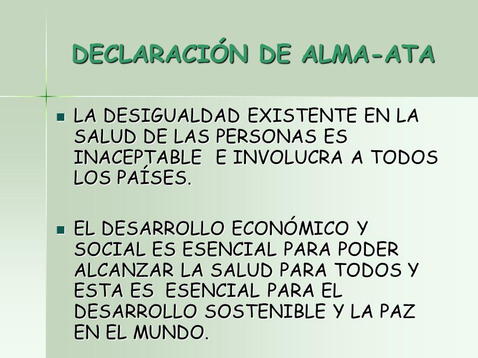 DECLARACIÓN DE ALMA-ATA LA DESIGUALDAD EXISTENTE EN LA SALUD DE LAS PERSONAS ES INACEPTABLE E INVOLUCRA A TODOS LOS PAÍSES.