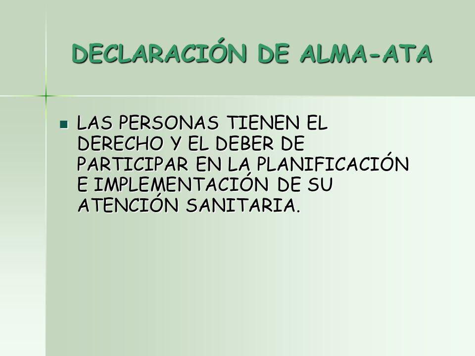 DECLARACIÓN DE ALMA-ATA LAS PERSONAS TIENEN EL DERECHO Y EL DEBER DE PARTICIPAR EN LA PLANIFICACIÓN E IMPLEMENTACIÓN DE SU ATENCIÓN SANITARIA.