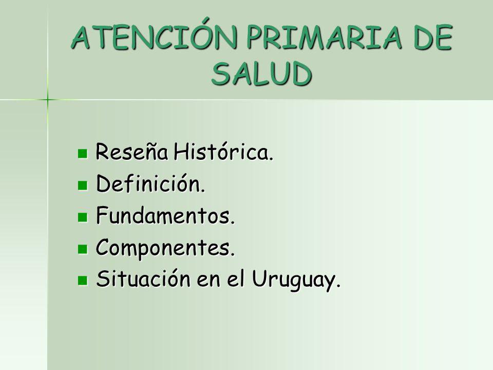 ATENCIÓN PRIMARIA DE SALUD Reseña Histórica. Reseña Histórica.