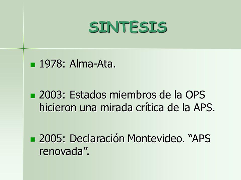 SINTESIS 1978: Alma-Ata. 1978: Alma-Ata. 2003: Estados miembros de la OPS hicieron una mirada crítica de la APS. 2003: Estados miembros de la OPS hici