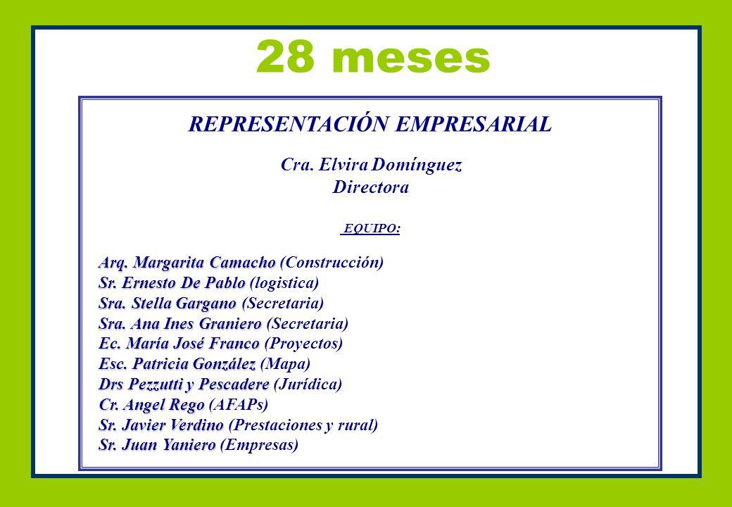 28 meses REPRESENTACIÓN EMPRESARIAL Cra. Elvira Domínguez Directora EQUIPO: Arq.