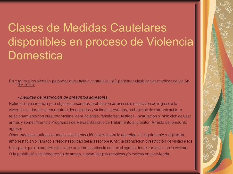 Clases de Medidas Cautelares disponibles en proceso de Violencia Domestica En cuanto a los bienes y personas que tutela o controla la LVD podemos clas