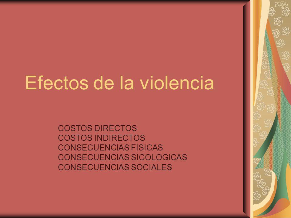 Efectos de la violencia COSTOS DIRECTOS COSTOS INDIRECTOS CONSECUENCIAS FISICAS CONSECUENCIAS SICOLOGICAS CONSECUENCIAS SOCIALES