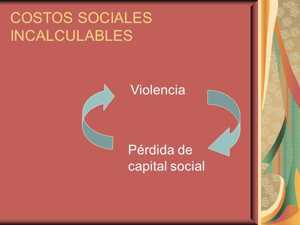 COSTOS SOCIALES INCALCULABLES Pérdida de capital social Violencia