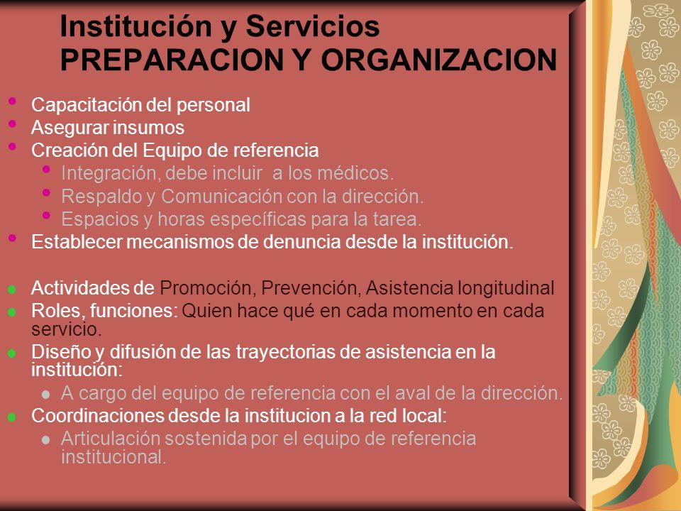 Institución y Servicios PREPARACION Y ORGANIZACION Capacitación del personal Asegurar insumos Creación del Equipo de referencia Integración, debe incl