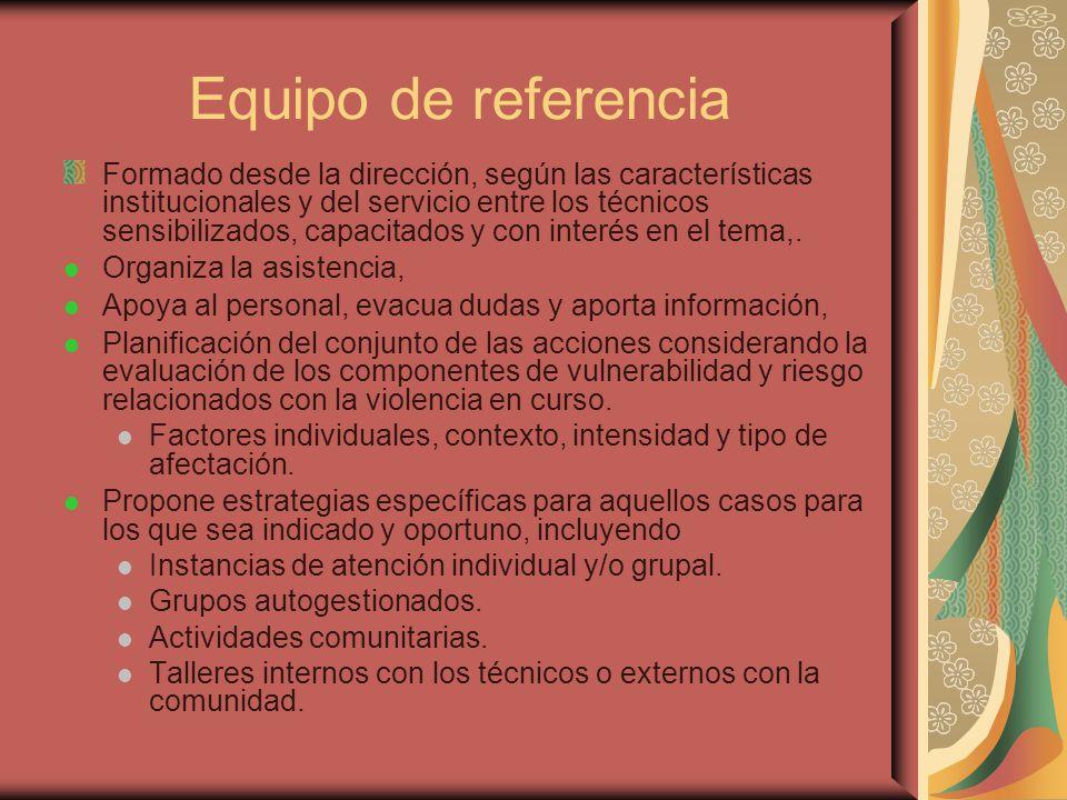 Equipo de referencia Formado desde la dirección, según las características institucionales y del servicio entre los técnicos sensibilizados, capacitad