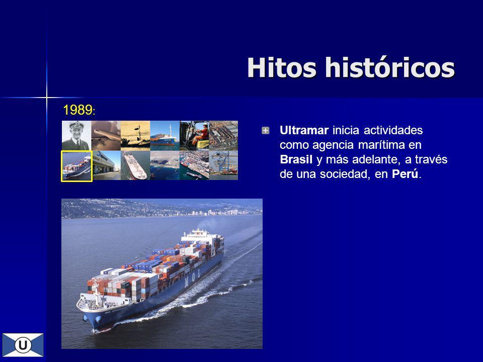 1989 : Ultramar inicia actividades como agencia marítima en Brasil y más adelante, a través de una sociedad, en Perú. Hitos históricos