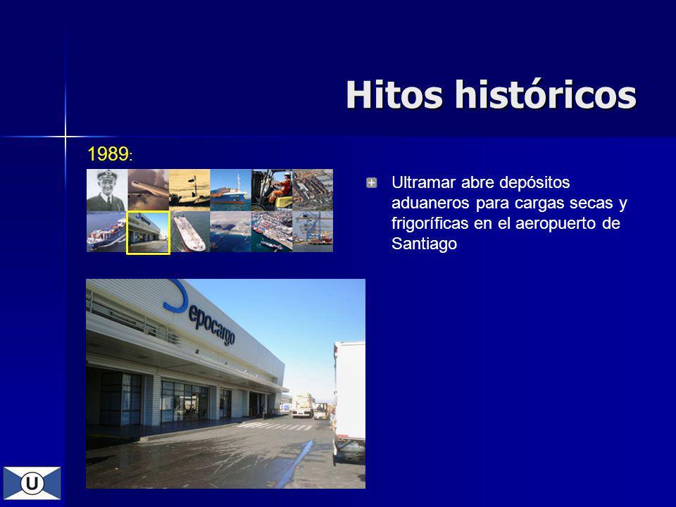 1989 : Ultramar abre depósitos aduaneros para cargas secas y frigoríficas en el aeropuerto de Santiago Hitos históricos