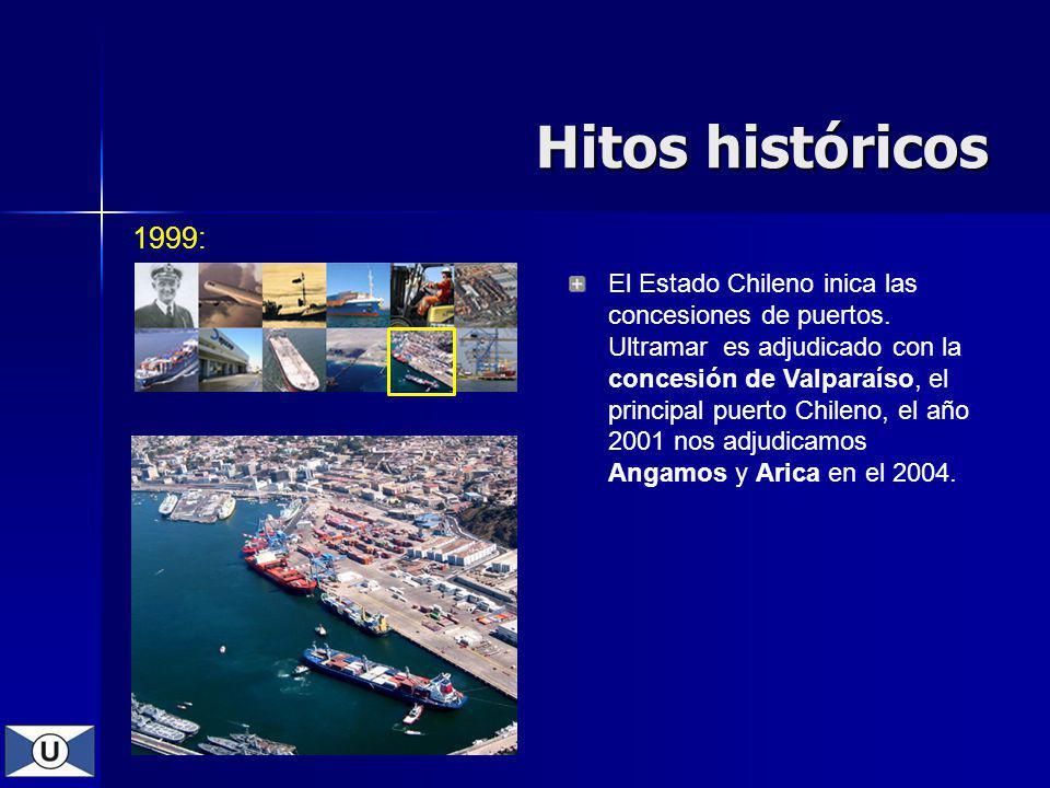 1999: El Estado Chileno inica las concesiones de puertos. Ultramar es adjudicado con la concesión de Valparaíso, el principal puerto Chileno, el año 2