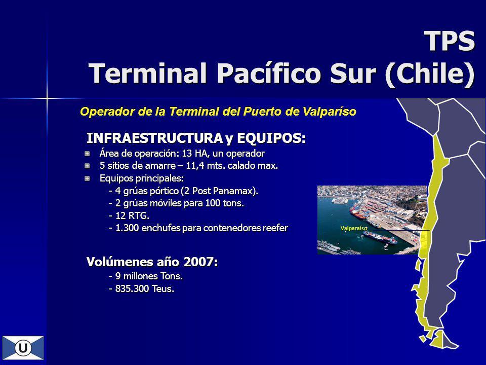 TPS Terminal Pacífico Sur (Chile) Valparaíso Operador de la Terminal del Puerto de Valparíso INFRAESTRUCTURA y EQUIPOS: INFRAESTRUCTURA y EQUIPOS: Área de operación: 13 HA, un operador 5 sitios de amarre – 11,4 mts.