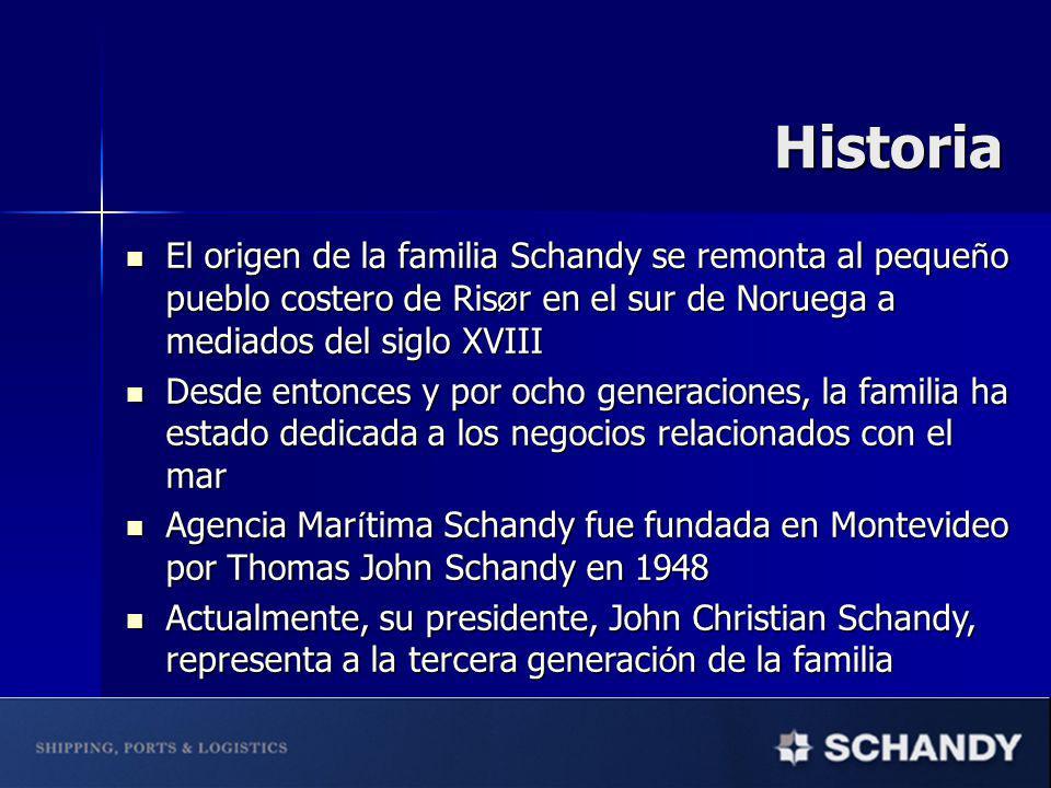 El origen de la familia Schandy se remonta al peque ñ o pueblo costero de Ris Ø r en el sur de Noruega a mediados del siglo XVIII El origen de la familia Schandy se remonta al peque ñ o pueblo costero de Ris Ø r en el sur de Noruega a mediados del siglo XVIII Desde entonces y por ocho generaciones, la familia ha estado dedicada a los negocios relacionados con el mar Desde entonces y por ocho generaciones, la familia ha estado dedicada a los negocios relacionados con el mar Agencia Mar í tima Schandy fue fundada en Montevideo por Thomas John Schandy en 1948 Agencia Mar í tima Schandy fue fundada en Montevideo por Thomas John Schandy en 1948 Actualmente, su presidente, John Christian Schandy, representa a la tercera generaci ó n de la familia Actualmente, su presidente, John Christian Schandy, representa a la tercera generaci ó n de la familia Historia