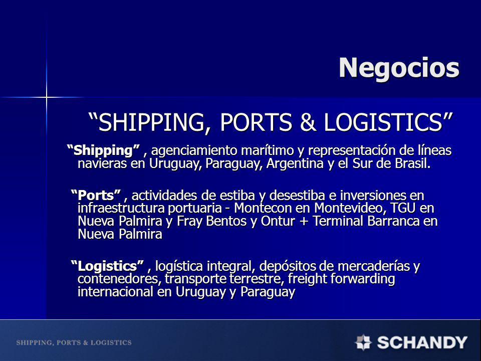 SHIPPING, PORTS & LOGISTICS SHIPPING, PORTS & LOGISTICS Shipping, agenciamiento marítimo y representación de líneas navieras en Uruguay, Paraguay, Arg