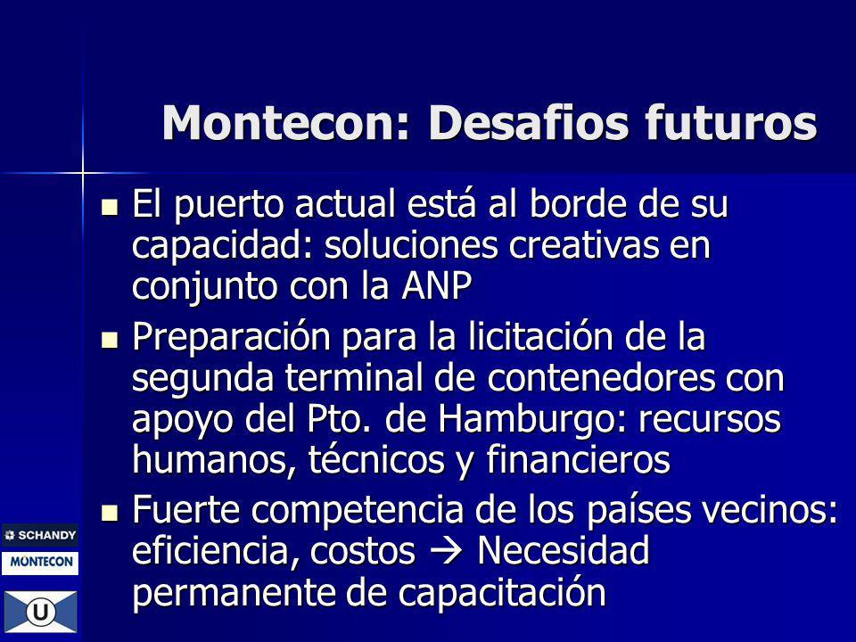 Montecon: Desafios futuros El puerto actual está al borde de su capacidad: soluciones creativas en conjunto con la ANP El puerto actual está al borde de su capacidad: soluciones creativas en conjunto con la ANP Preparación para la licitación de la segunda terminal de contenedores con apoyo del Pto.
