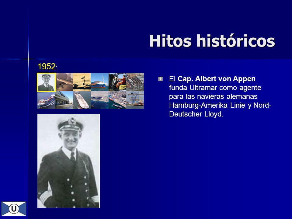 Hitos históricos El Cap. Albert von Appen funda Ultramar como agente para las navieras alemanas Hamburg-Amerika Linie y Nord- Deutscher Lloyd. 1952 :