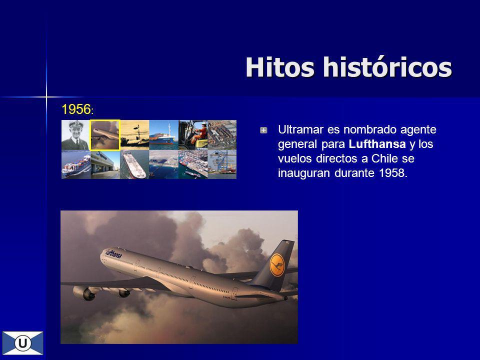 1956 : Hitos históricos Ultramar es nombrado agente general para Lufthansa y los vuelos directos a Chile se inauguran durante 1958.