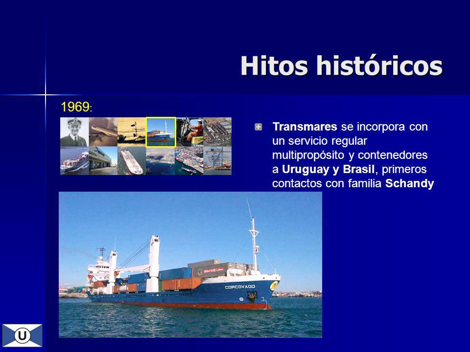 1969 : Transmares se incorpora con un servicio regular multipropósito y contenedores a Uruguay y Brasil, primeros contactos con familia Schandy Hitos