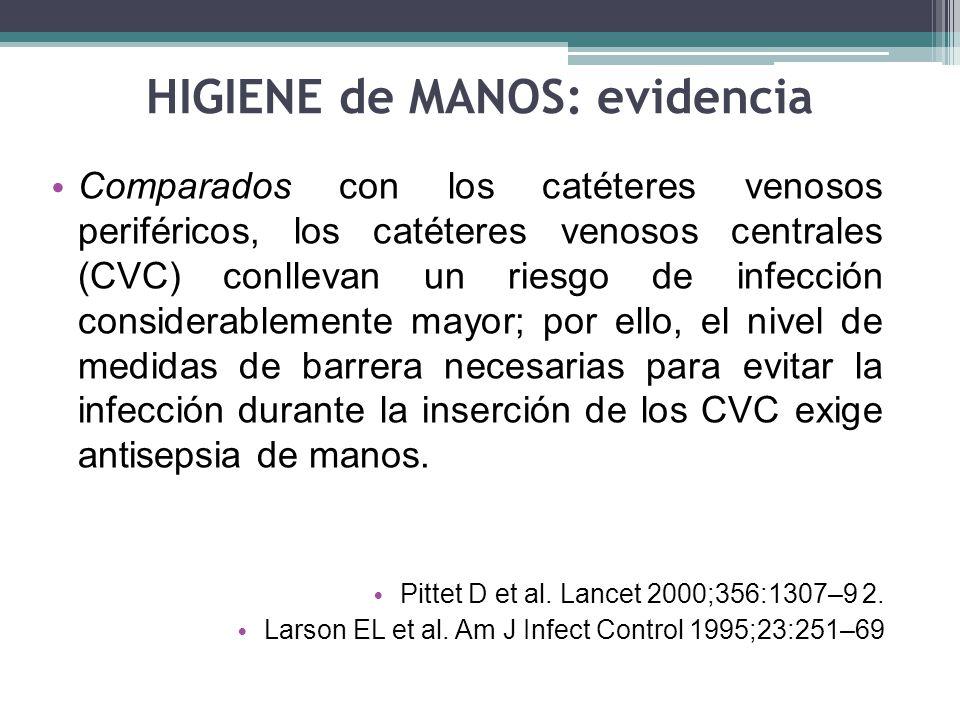 HIGIENE de MANOS: evidencia Comparados con los catéteres venosos periféricos, los catéteres venosos centrales (CVC) conllevan un riesgo de infección c
