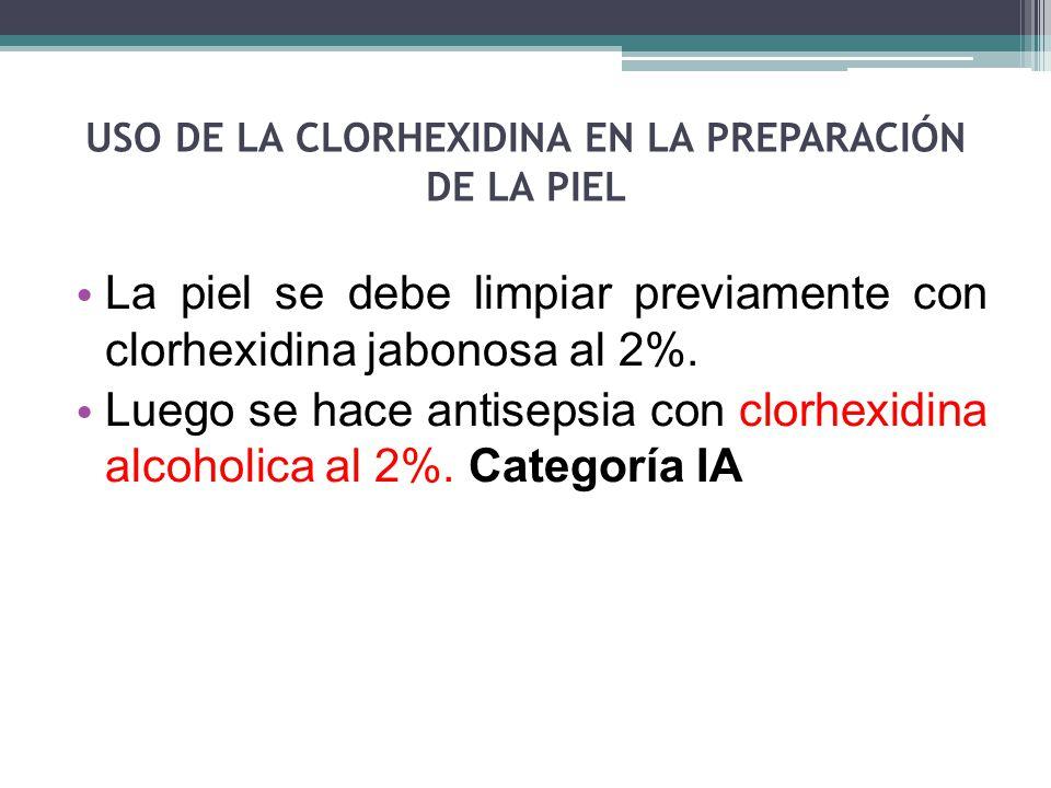 USO DE LA CLORHEXIDINA EN LA PREPARACIÓN DE LA PIEL La piel se debe limpiar previamente con clorhexidina jabonosa al 2%. Luego se hace antisepsia con