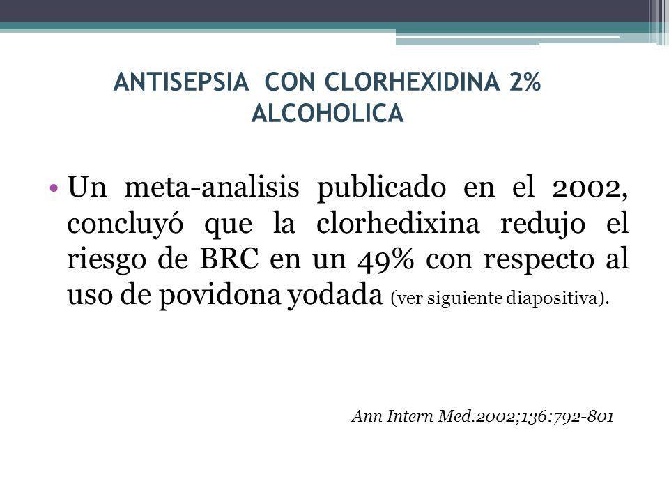 ANTISEPSIA CON CLORHEXIDINA 2% ALCOHOLICA Un meta-analisis publicado en el 2002, concluyó que la clorhedixina redujo el riesgo de BRC en un 49% con re