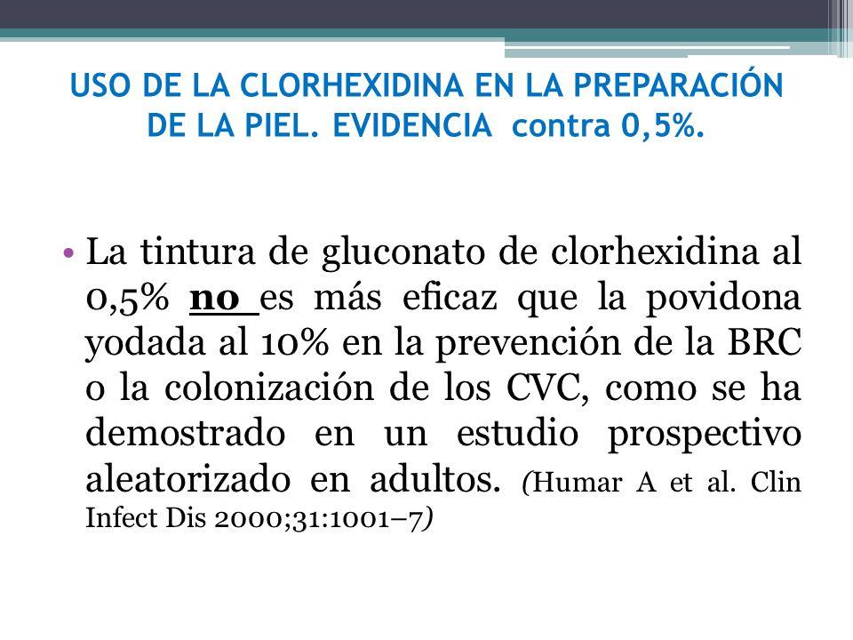 USO DE LA CLORHEXIDINA EN LA PREPARACIÓN DE LA PIEL. EVIDENCIA contra 0,5%. La tintura de gluconato de clorhexidina al 0,5% no es más eficaz que la po